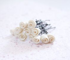 Wedding bridal hair pins - 12pcs - made to order - wedding accessories - Bridal White pearl Roses hair piece - rosebuds jewelry Israel on Etsy, $24.00