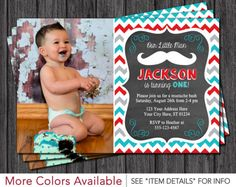 First Birthday Invitation Little Man mustache & bowties