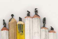 Carved lead pencil sculptures