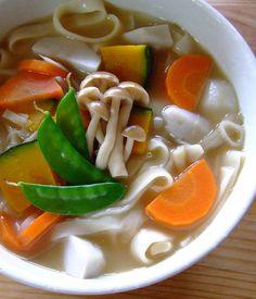 hōtō noodles, hōtō miso soup base, carrot, pumpkin, taro (satoimo ...