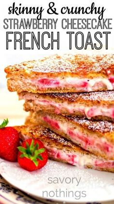 This French Toast recipe is even easier than an overnight breakfast casserole! Stuffed with cream cheese and fresh strawberries and coated in a crunchy cinnamon sugar mix - you won't believe this is good for you! | http://savorynothings.com