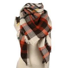PRE-ORDER Wholesale Plaid Blanket Scarf Scarves (Brown/Orange/Cream)