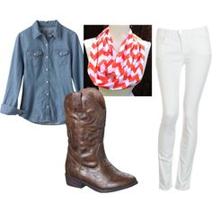 """""""Caitlyn"""" by sharon-steen on Polyvore- possible outfit for pics with coral chevron scarf to match my dress"""