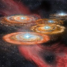 An artist's impression of some of the first stars in the early Universe. Five protostars are seen here forming in the centre of discs of gas. Image credit: Shantanu Basu, University of Western Ontario.