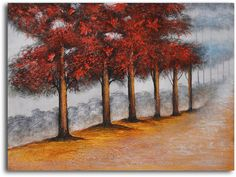 Trees Primped in Red Original Painting on Wrapped Canvas