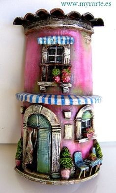 Pink fairy house hand decorated by tiles Polymer Clay Projects, Polymer Clay Creations, Polymer Clay Art, Clay Crafts, Diy And Crafts, Clay Houses, Ceramic Houses, Clay Fairy House, Fairy Houses