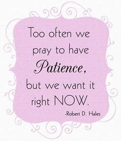 Patience - another great quote from LDS General Conference - Robert D Hales