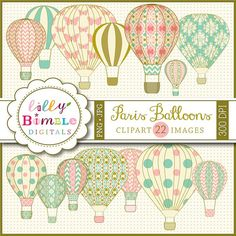 INSTANT DOWNLOAD Paris Balloons clipart Hot Air Balloons with damask, digital scrapbooking