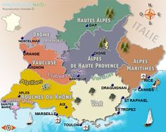 Map of Provence with names of regions à l'ancienne