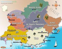 Les départements et régions de Provence.