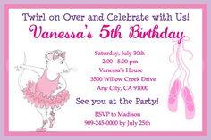 Angelina Ballerina Birthday Party Invitations