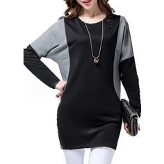 Patchwork Batwing Sleeve Black Long T Shirt