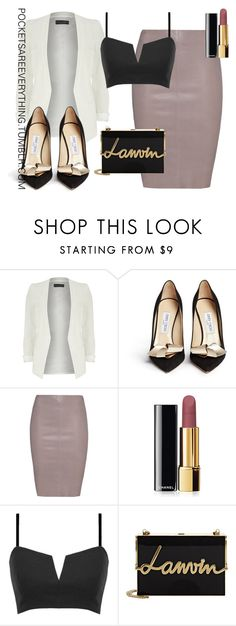 """""""A HOE NEVER GETS COLD"""" Outfit and on Polyvore featuring Dorothy Perkins, Jimmy Choo, Jitrois, Chanel, Lanvin, women's clothing, women's fashion, women, female and woman"""