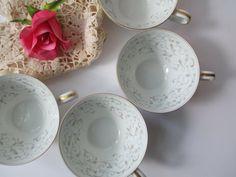 Vintage Noritake Glennis Gold Silver Teacups Set by thechinagirl