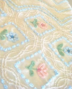 Vintage pink and blue floral on yellow chenille bedspread.so pretty, and I'm not usually a fan of yellow :) Granny Chic, Granny Style, Chenille Bedspread, Chenille Fabric, Vintage Bedspread, Pink Room, Pretty Pastel, Chiffon, Vintage Items