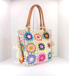 Crochet granny squares handbag with tassels and por MyNicePurses