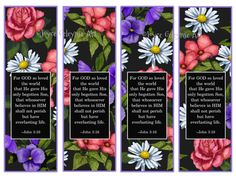 For God so Loved the World Coloring Page Awesome Printable Bookmarks John 3 16 Flowers On Black Background Free Printable Bookmarks, Free Printables, Pop Art Costume, Anniversary Poems, Art Deco Wedding Dress, Harry Potter Colors, Art Journal Backgrounds, Human Body Art, Abstract Pictures