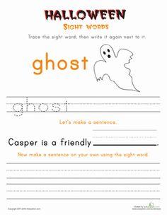 Halloween First Grade Sight Words Building Sentences Worksheets: Halloween Sight Words: Ghost