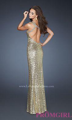 open back dresses | Long One Shoulder Sequin Open Back Dress