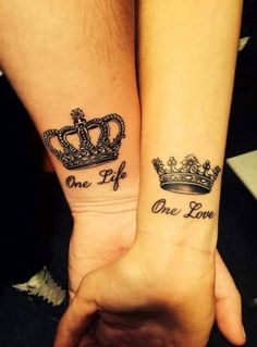Tattoo wrist couple king queen 46 ideas for 2019 Crown Tattoos For Women, Couple Tattoos Love, Wrist Tattoos For Women, Love Tattoos, Body Art Tattoos, Marriage Tattoos, Partner Tattoos, Relationship Tattoos, Pair Tattoos