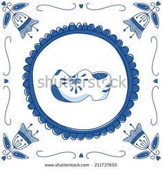 Delft blue tile with a pair of cloggs | Delfts Blauw tegel met een klomp | by Julia Henze