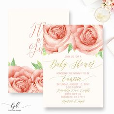 Floral stripe baby shower invitation gold black white baby shower floral stripe baby shower invitation gold black white baby shower invitation rose baby shower invite you print by lillyspartyboutique on etsy ht filmwisefo