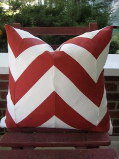 Love this!  http://www.etsy.com/listing/82780013/red-and-white-chevron-pillow