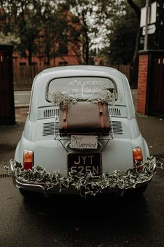 Decorated Wedding Transport for Botanical Wedding | By Esme Whiteside Photography | Wedding Car | Cute Wedding Car | Wedding transport | Vintage Wedding Car Car Wedding, Wedding Send Off, Wedding Night, White Hydrangea Bouquet, Botanical Wedding, Weeding, Lace Up Shoes, Nice Things, Flowers In Hair