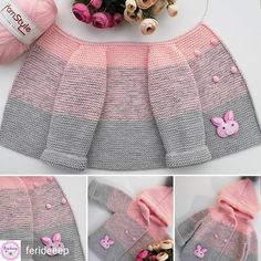 Knitted Baby Cardigan – Pink Lady -Two N - Diy Crafts - Qoster Baby Cardigan Knitting Pattern, Knitted Baby Cardigan, Knit Baby Sweaters, Knit Baby Booties, Crochet Coat, Baby Knitting Patterns, Baby Patterns, Knitting For Kids, Crochet For Kids