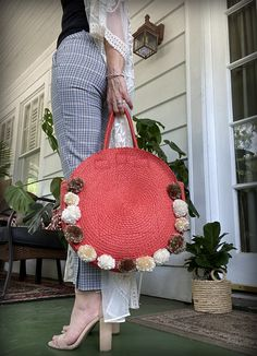 I am finally getting to all the re-styles I have been wanting to do for over a year. I bought this purse at the beginning of spr. Round Straw Bag, Round Bag, Pom Pom Purse, Beginning Of Spring, Small Scissors, Pom Pom Maker, Diy Purse, Orange Bag, Style Me