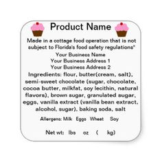 Cottage Food Law Cinnamon Roll Label   Google Search