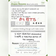 Resume Translation Eng Trans Jimin's Resume Part 55~ 2017 Bts Festa Day 11