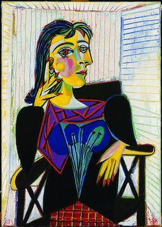 """Pablo Picasso (b. 1881 - d. 1973, Spanish), """"Portrait of Dora Maar"""", (1937), Oil on canvas, 'Musée National Picasso', (Paris), France."""