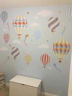 Hot Air Balloons & Kites Premium Self Adhesive Fabric Nursery Wall Art Stickers by Enchanted Interiors