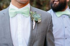 You can't go wrong with a mint #bowtie and succulent boutonniere!  Photography by: Annie McElwain (www.anniemcelwain.com)