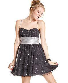 Speechless Juniors Dress, Sleeveless Studded Sash - Juniors Dresses - Macy's