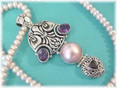 "Sterling Silver - Amethyst Garnet Pink Pearl Celtic 2 3/4"" Pendant - Pink Pearl 20"" Necklace - Artisan - Perfect Gift - FREE SHIPPING by FindMeTreasures on Etsy"