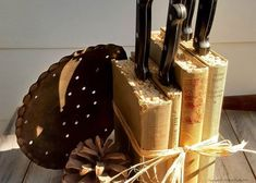 turn old books into a knife block, crafts, how to, repurposing upcycling