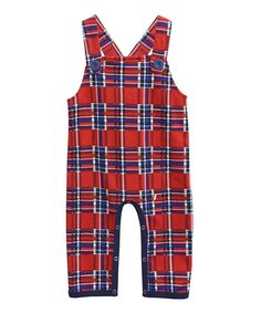 Red Plaid Savoy Overalls - Infant