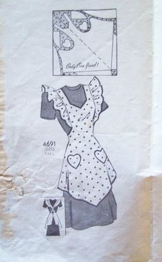 Vintage Apron Patterns Free | Vintage 30's Anne Adams 4691 Full Bib Apron Pattern Heart Pockets