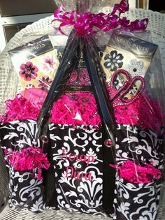 How cute!  A gift basket for a scrapbooker using the Thirty One Organizing Utility Tote!