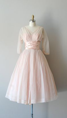 Heavenly sheer pink dress with satin cummerbund 1950s dress