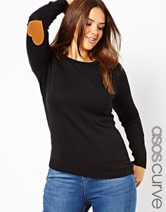 Pull the camel from the elbow patches and pair w/ burberry or leopard scarf and maroon skater skirt. ASOS CURVE Jumper with Heart Elbow Patch plus size fashion Curvy Fashion, Love Fashion, Autumn Fashion, Fashion Outfits, Plus Fashion, Womens Fashion, Plus Zise, Mode Plus, Plus Size Kleidung