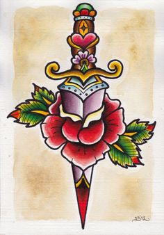 Traditional Dagger Tattoo Top american traditional dagger tattoo … - Old School Girly Tattoos, Trendy Tattoos, Body Art Tattoos, New Tattoos, Sleeve Tattoos, Tatoos, Old School Tattoo Motive, Traditional Dagger Tattoo, Traditional Tattoos