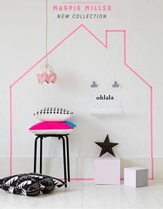 Washi tape masking tape house sticker on the wall