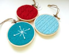Christmas Hoop Ornaments / Retro Red and Turquoise Felted Sweater Wool by WormeWoole