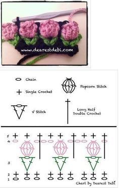 "tulp haaksteekje - tulip crochet stitch (Bees and Appletrees) this is a crochet diagram for the - tulip crochet stitch crocrochet: ""Crochet flower bud, chart by Debi "" Deze is wel heel erg leuk! A Collection of Crochet Flower Stitch Free Patterns: cro Crochet Symbols, Crochet Motifs, Crochet Borders, Crochet Flower Patterns, Crochet Diagram, Crochet Stitches Patterns, Crochet Chart, Crochet Designs, Crochet Flowers"