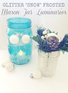 Use textured, crystal glitter and decoupage medium to make these gorgeous mason jar luminaries! These are so pretty for winter and the holidays.