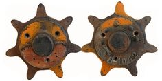 """""""He and she, a perfect couple of antique wooden sprocket molds, patterns""""  Origin: US  Material: Wood"""