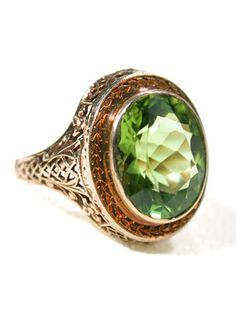 Golden Trellis: 20th C. Peridot Ring